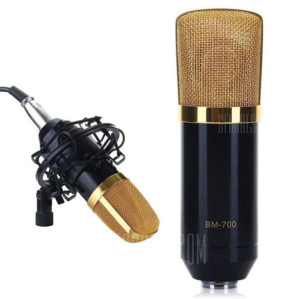 offertehitech-gearbest-BM-700 Condenser Sound Recording Microphone and Plastic Shock Mount for Radio Broadcasting Studio Voice Recording