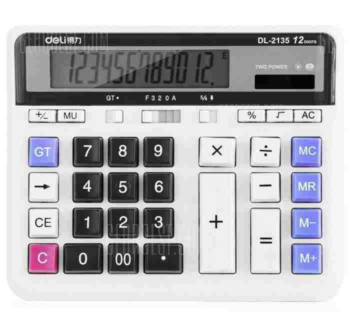 offertehitech-gearbest-Deli 2135 Solar Powered Desktop Calculator