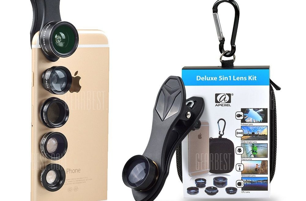 offertehitech-gearbest-APEXEL Universal 5 in 1 HD Phone Lens Kit Wide Angle Macro Fisheye Telephoto Mobile Camera Lens for iPhone Smartphone