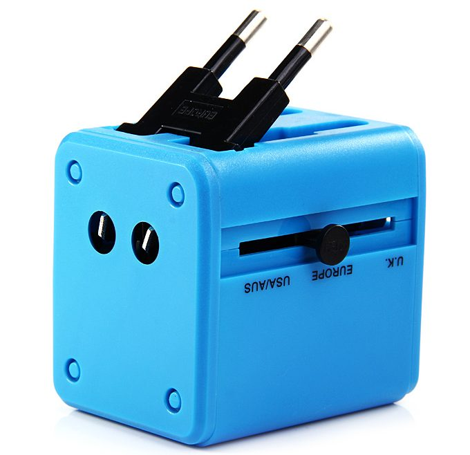 offertehitech-Universal Global Travel AC UK / EU / US / AU Plug Power Adapter Conversion Socket General with USB Port - Blue