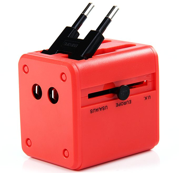 offertehitech-Universal Global Travel AC UK / EU / US / AU Plug Power Adapter Conversion Socket General with USB Port - Red