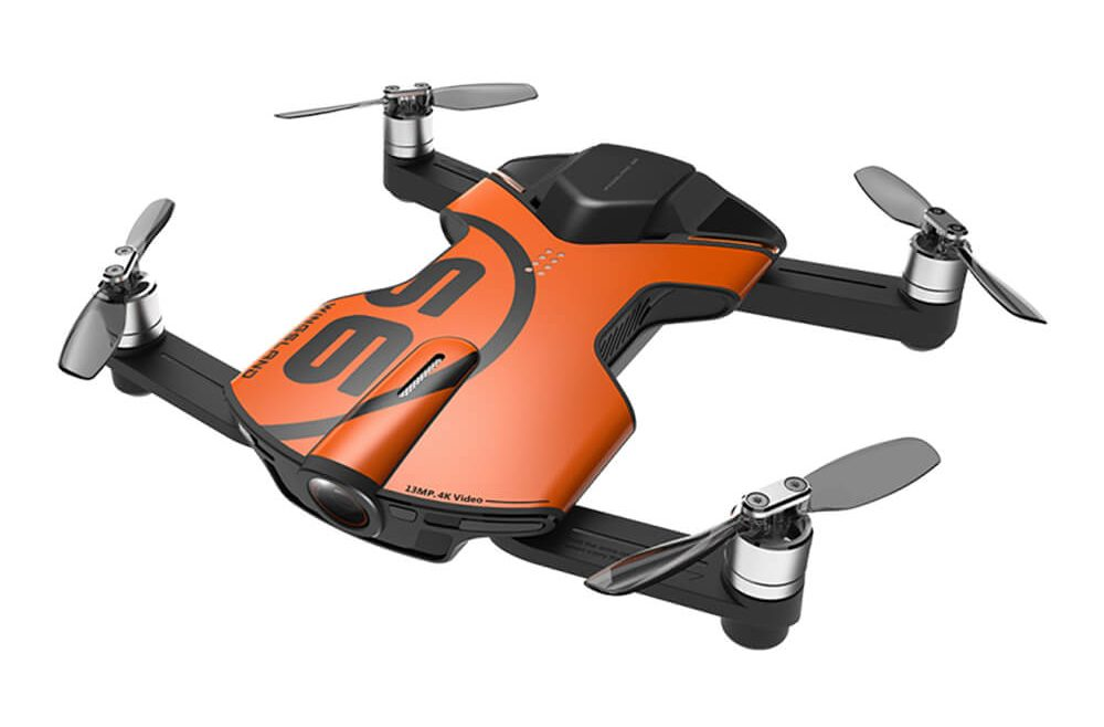 offertehitech-Wingsland S6 Pocket Selfie Drone FPV 4K UHD Camera GPS Obstacle Avoidance RC Quadcopter- Orange