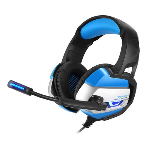 offertehitech-ONIKUMA K5 Gaming Headset with Mic Stereo USB LED Headphones for PS4 XBOX One PC Laptop Mac - Blue + Black