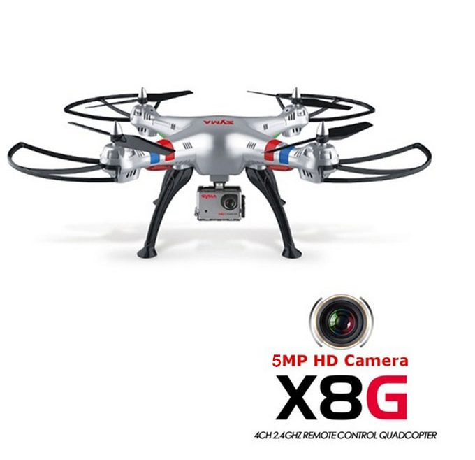 offertehitech-Syma X8G 4CH 5.0MP Camera FPV RC Quadcopter 2.4G 6 Axis Gryo With Headless Mode HD Camera 3D Flip RTF