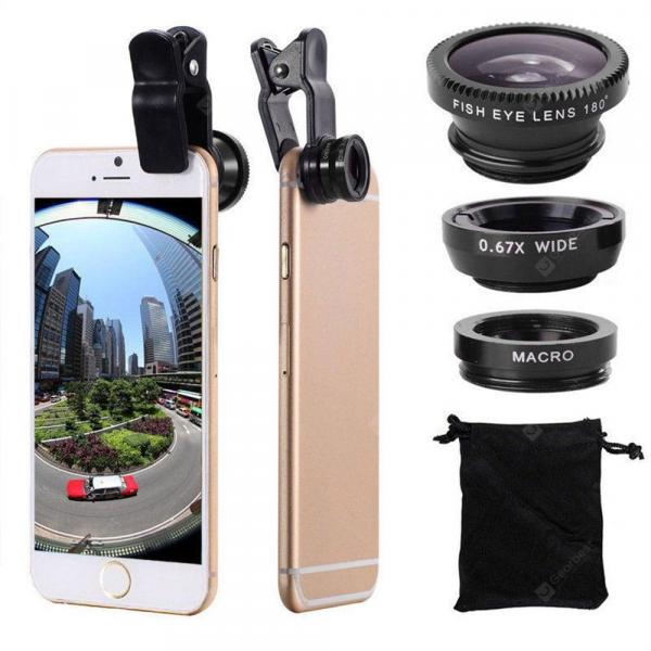 offertehitech-gearbest-3 in 1 Mobile Phone Lenses Fish Eye Wide Angle Macro Camera for iPhone X / 8 Plus Xiaomi Huawei Samsung